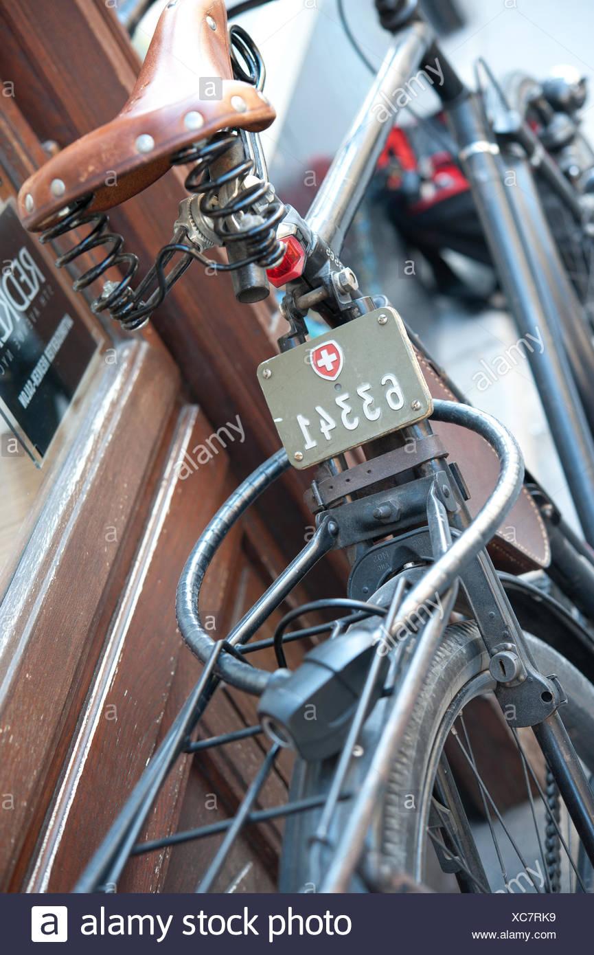 Schweizer Fahrradkennzeichen Stock Photo