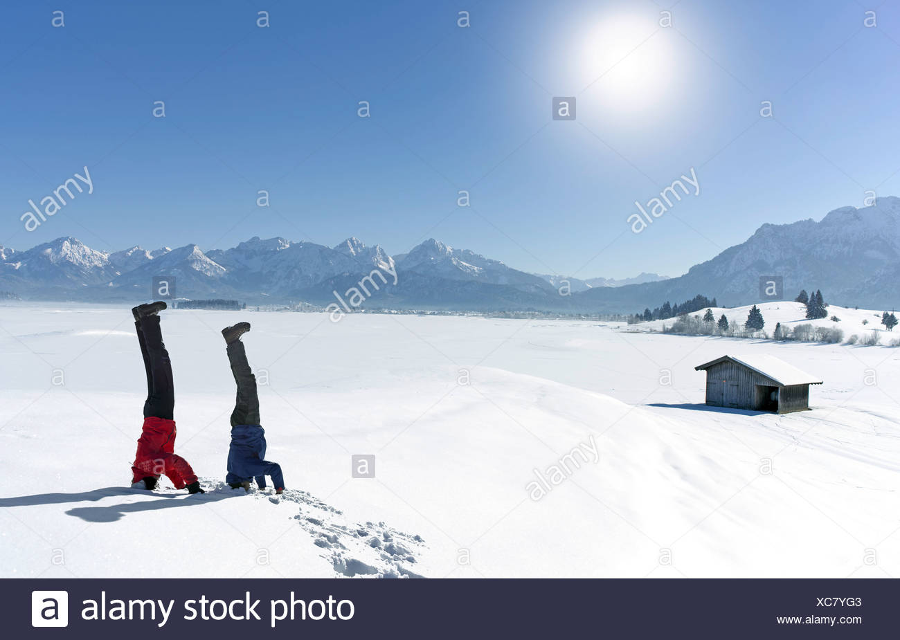 Mid adult couple doing headstands in snow - Stock Image