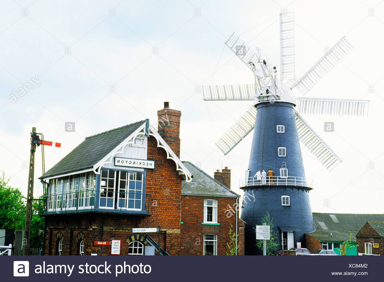 Heckington Lincolnshire windmill railway signal box preserved England UK 8 eight sails sailed tower mill - Stock Image