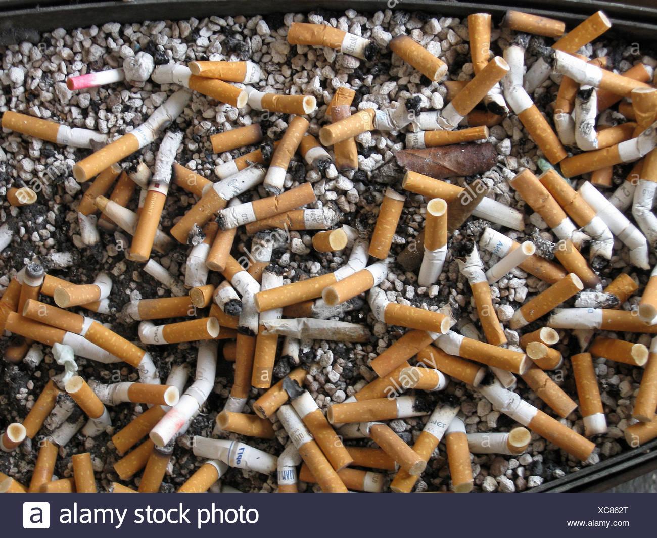 habit cigarette cigar butts ashtray smoking health hazard cigarettes - Stock Image