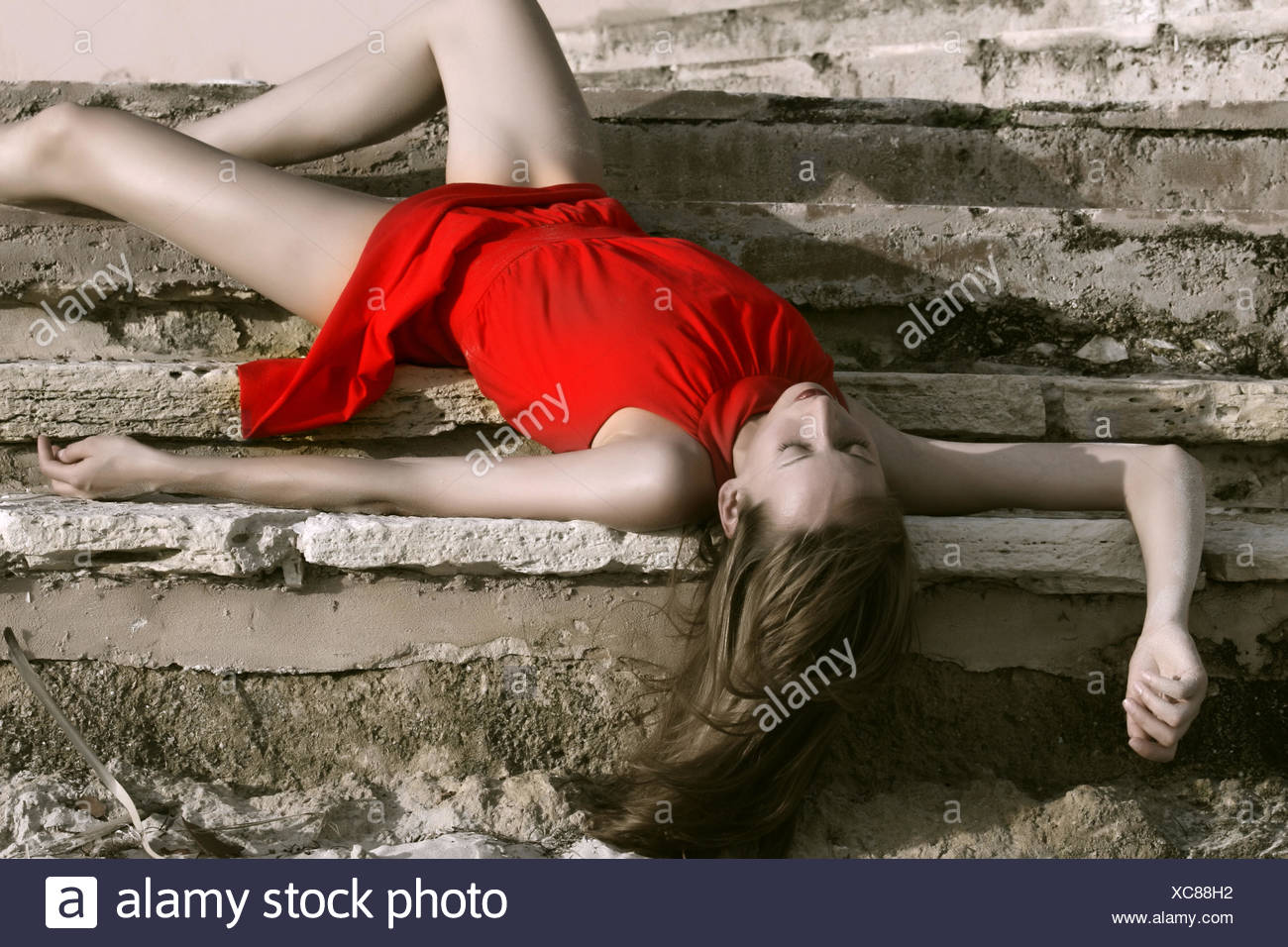 motionless on the steps - Stock Image