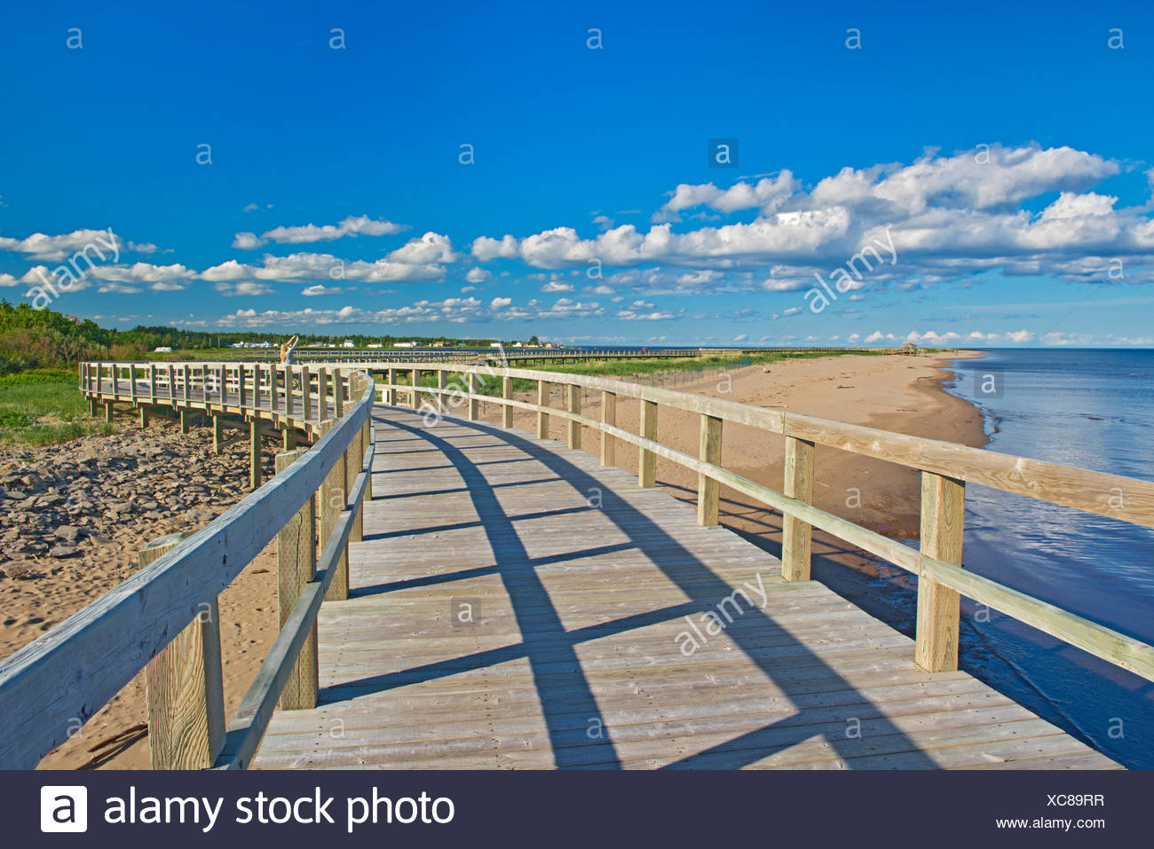 Boardwalk and sand dunes and beaches at Irving Eco-Centre, Bouctouche, New Brunswick, Canada - Stock Image