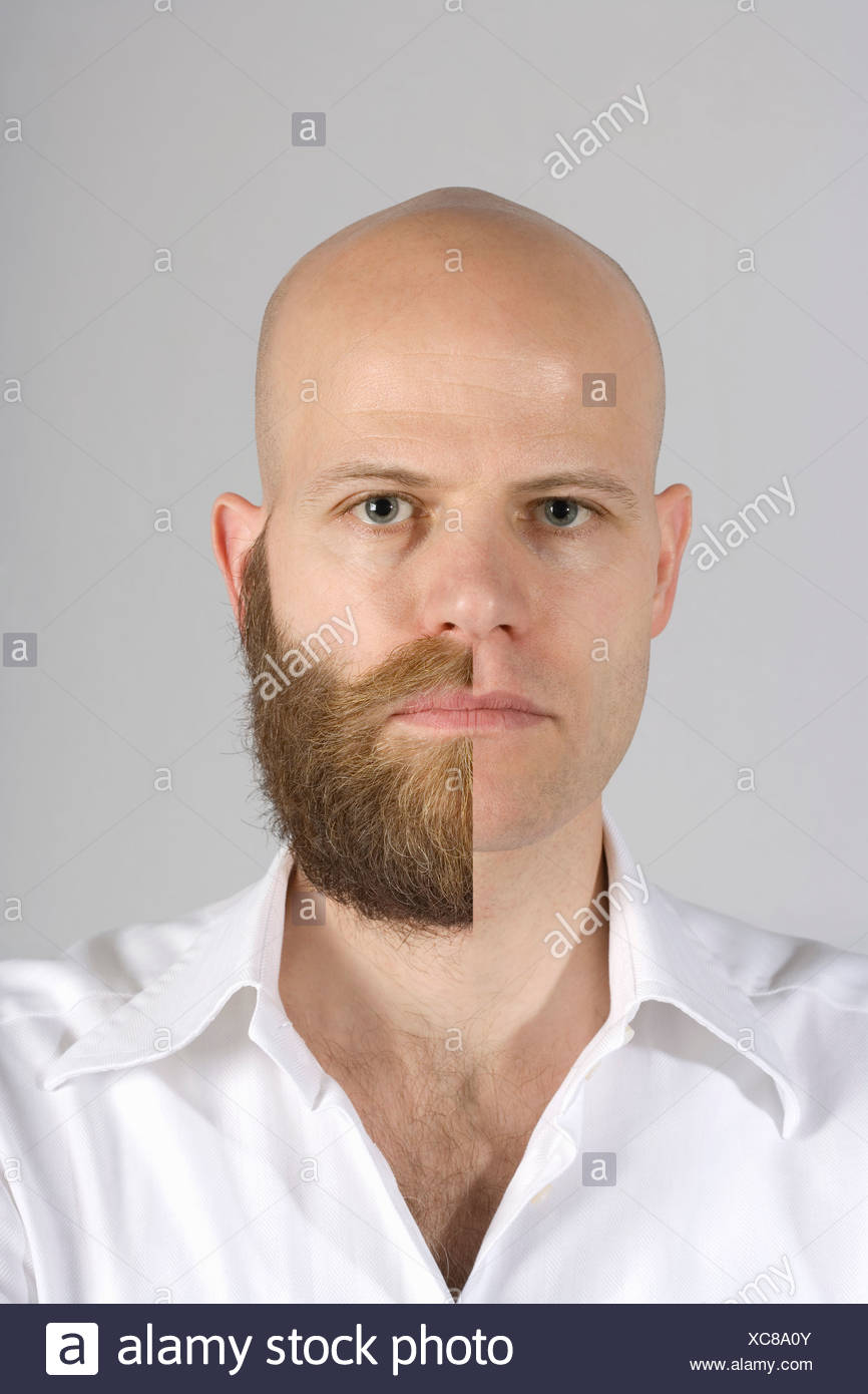 A man with a half shaven beard and mustache - Stock Image