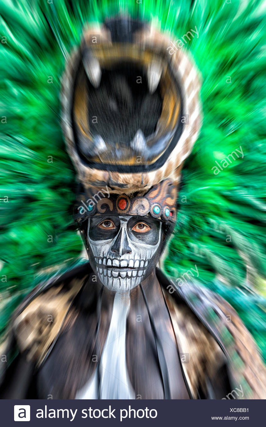 Photograph of Maya folklore fire dance ritual performer in Xcaret Show, Riviera Maya, Quintana Roo, Mexico - Stock Image