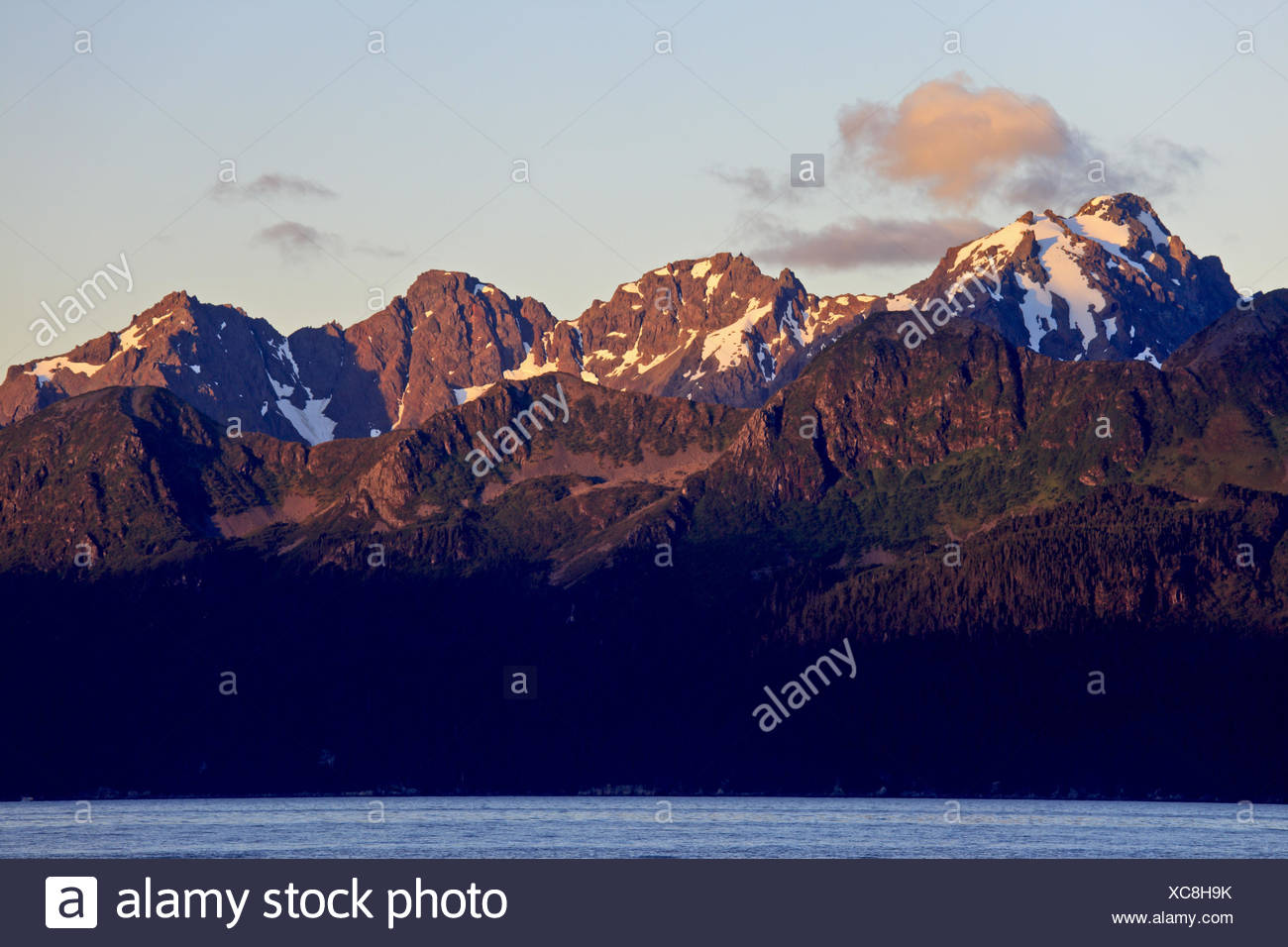 North America, the USA, Alaska, the central south, Kenai Peninsula, Resurrection Bay, Chugach Mountains, - Stock Image