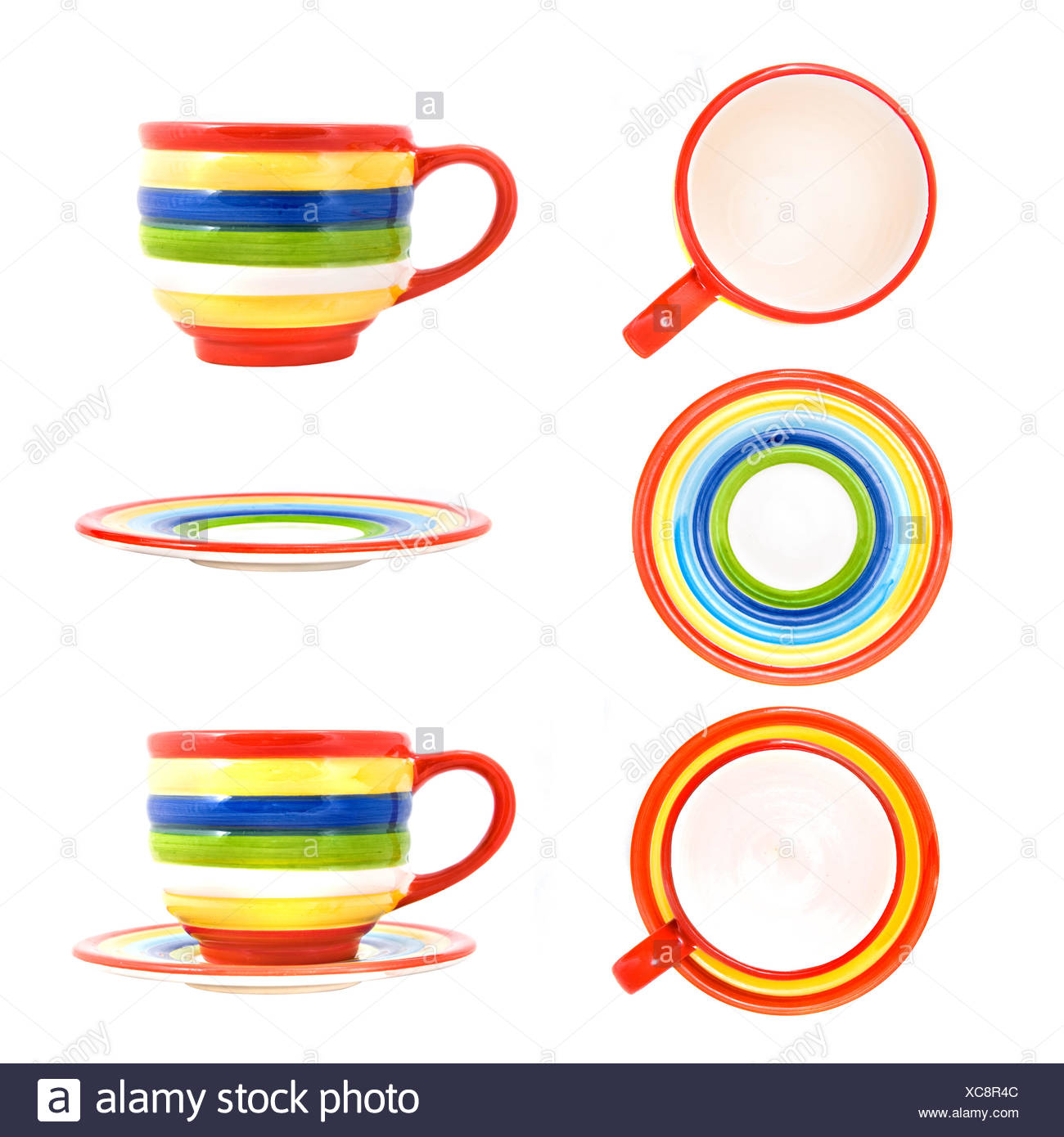 Ceramic funny color cup with saucer isolated on white - Stock Image