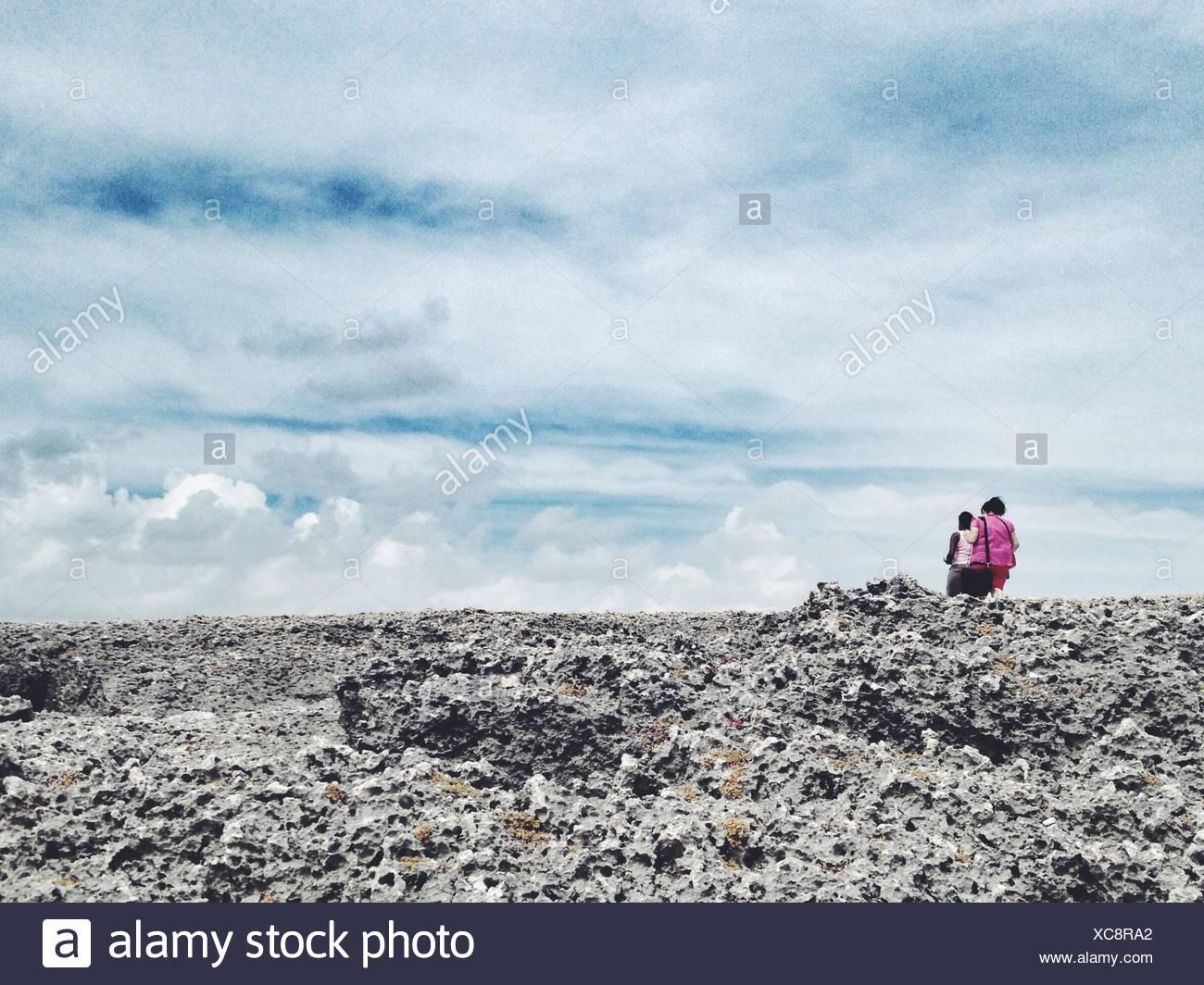 Sky Over Porous Rocks Stock Photo