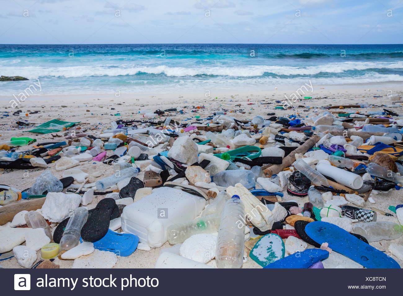 Plastic Waste washed up at Greta Beach, Christmas Island, Australia - Stock Image