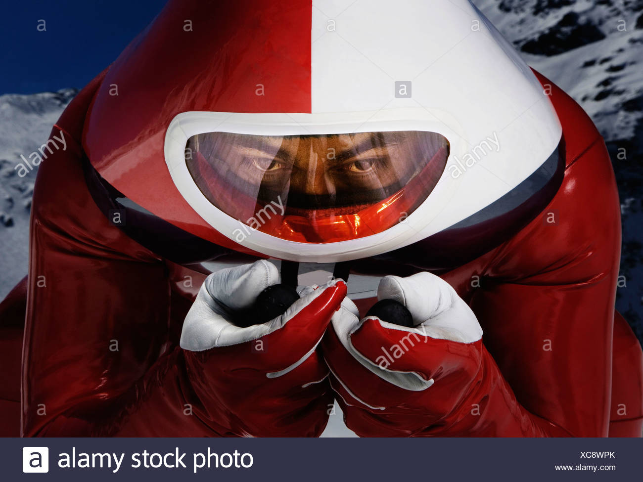 Speed skier direct to camera Stock Photo