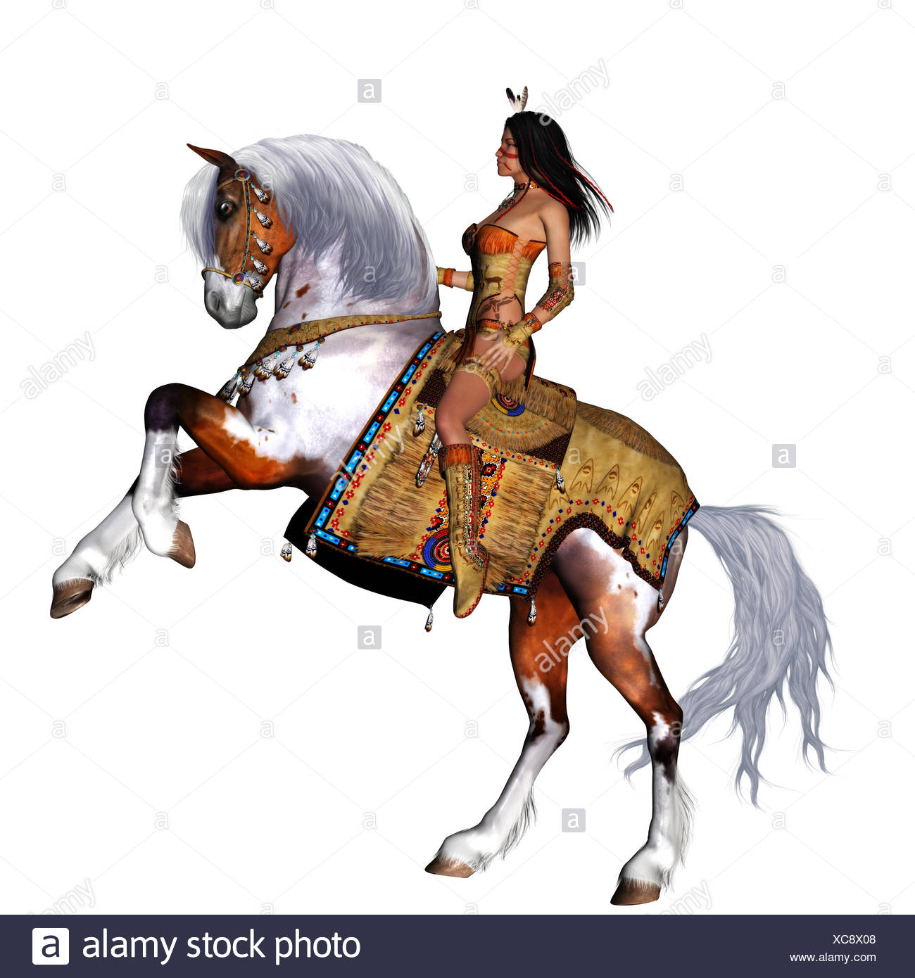 a native girl and her horse - isolated on white - Stock Image