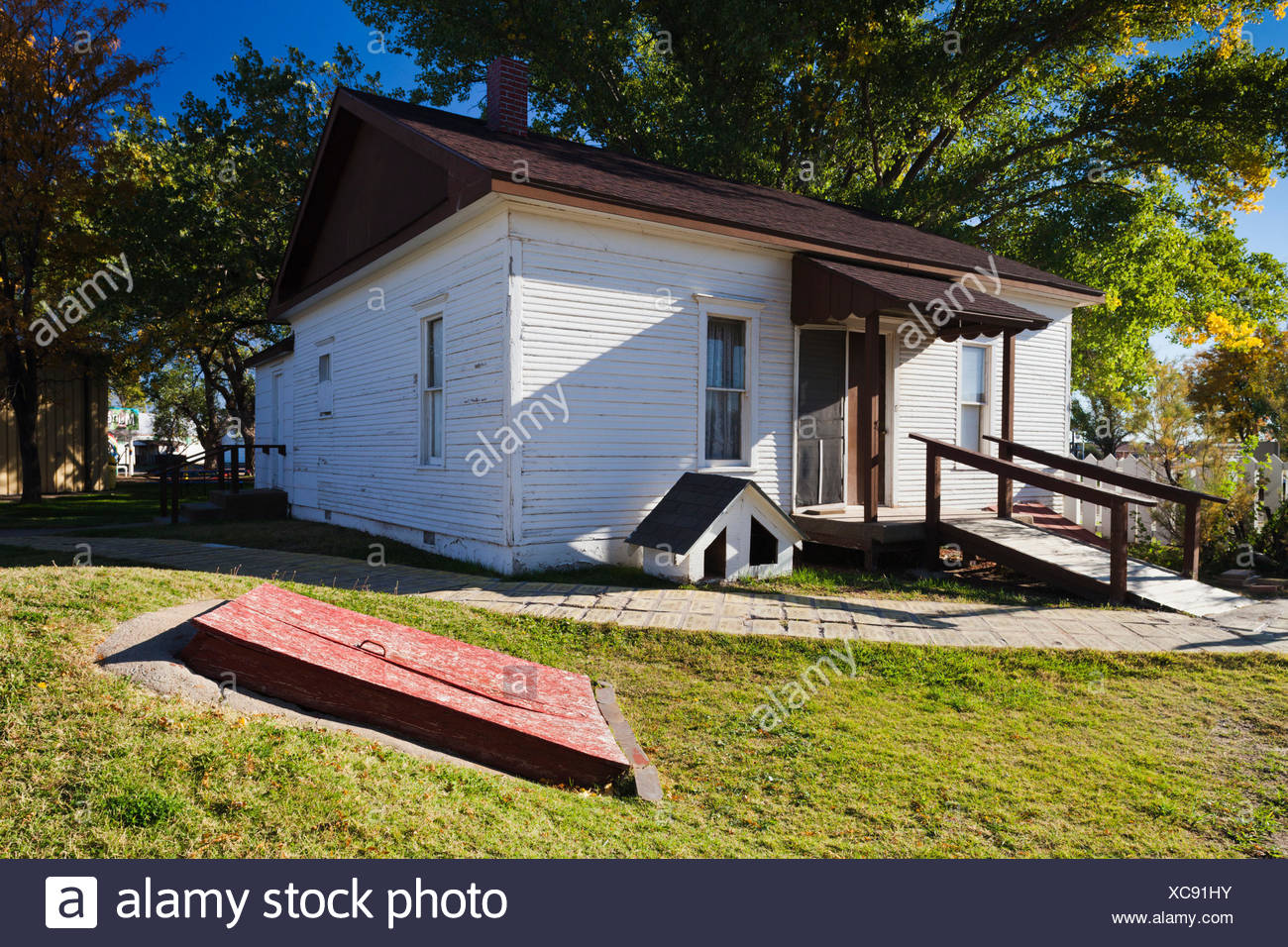 USA, Kansas, Liberal, Dorothy's House, replica of the house from the film Wizard of Oz - Stock Image