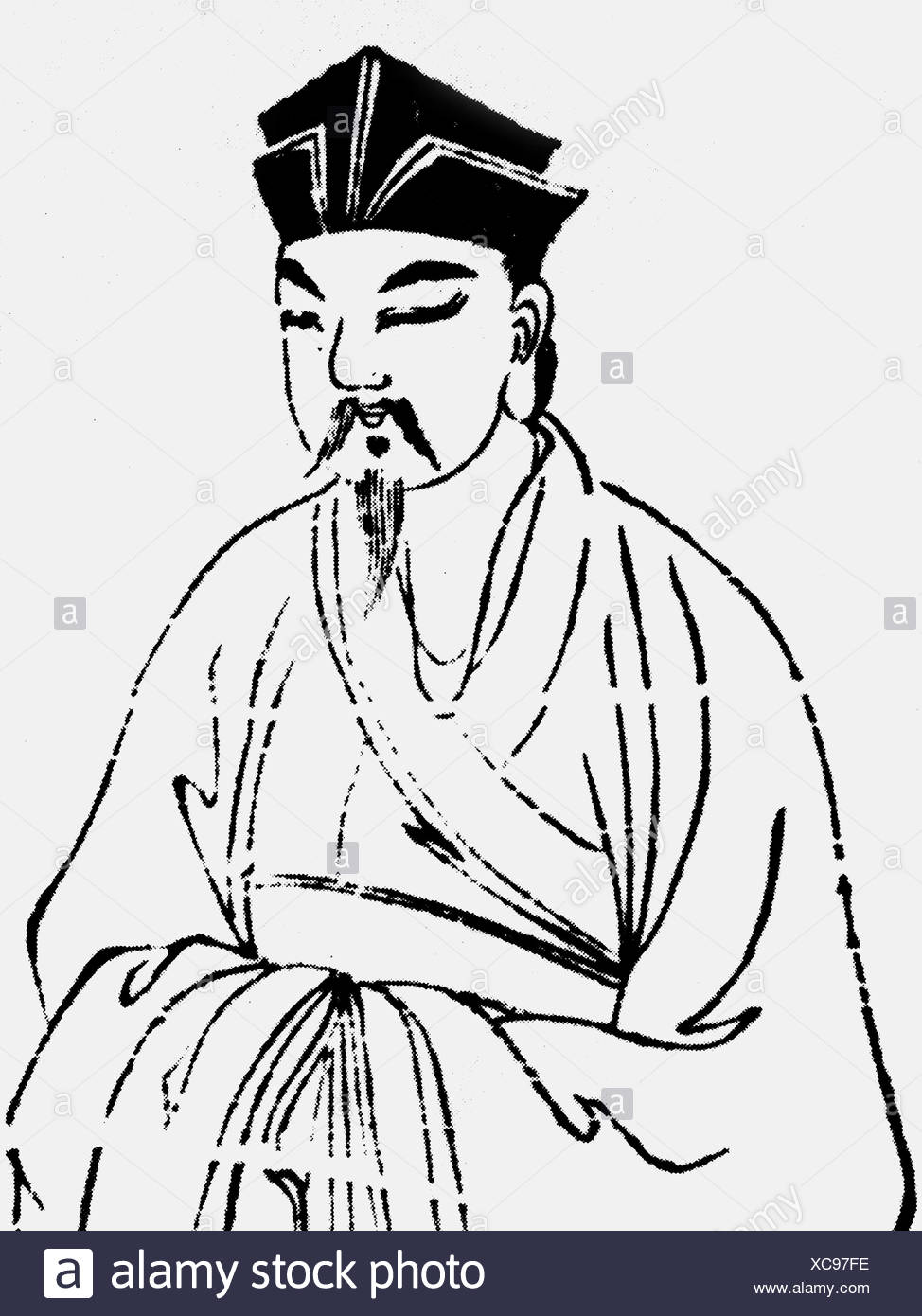 Zhang Zai,  1020 - 1077, Chinese philosopher, later Chinese illustration, Additional-Rights-Clearances-NA - Stock Image