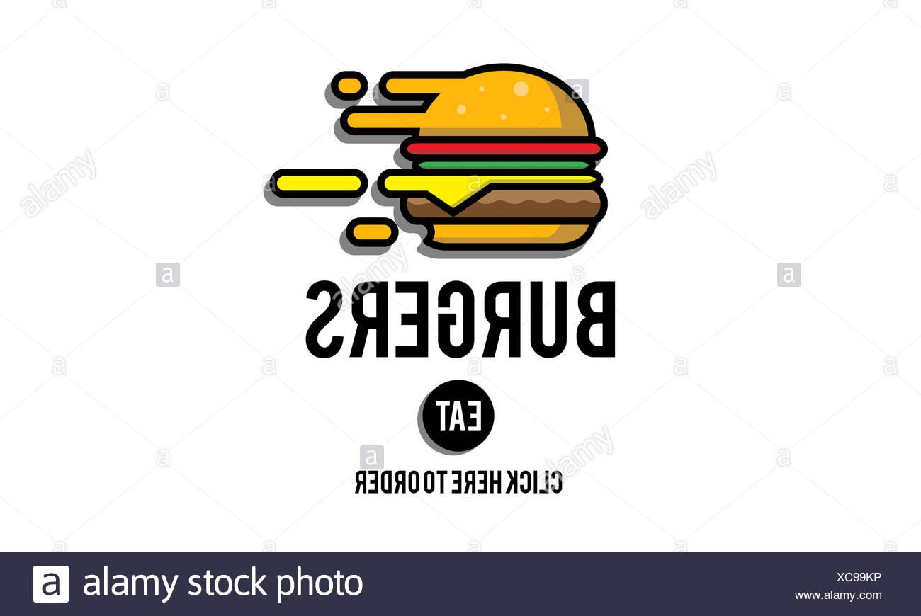 Burgers Online Buying Junk Food Nourishment Concept Stock Photo