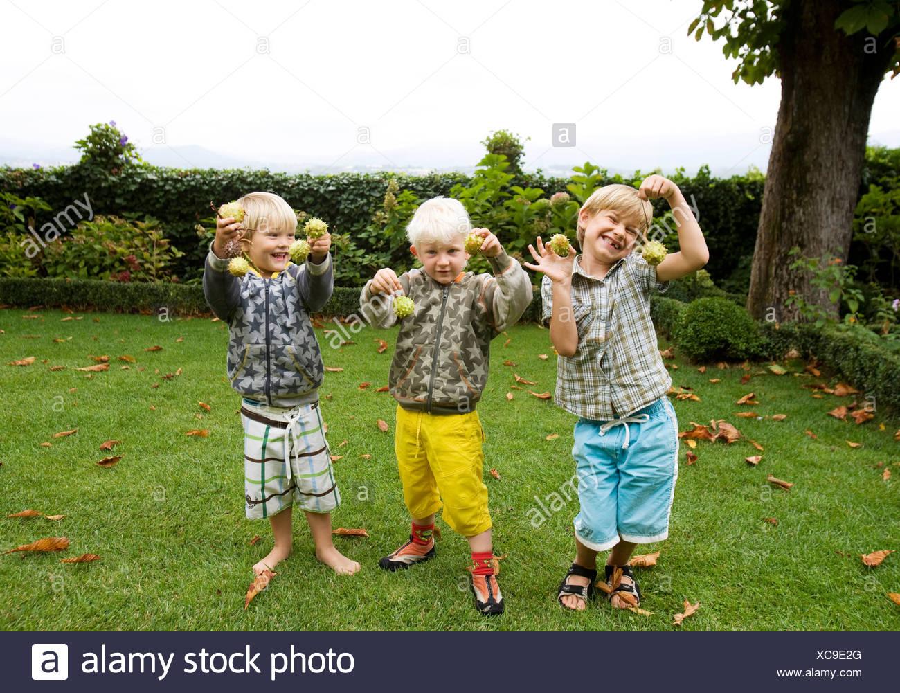 3 boys portrait - Stock Image