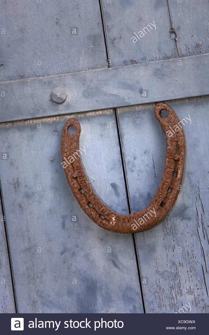 Rusty horseshoe, lucky charm - Stock Image
