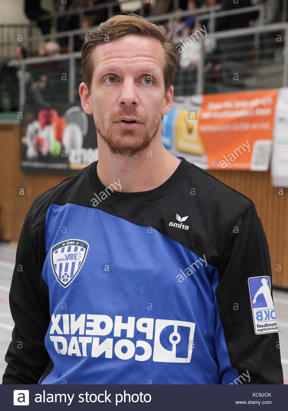 Goalkeeper Dan Beutler (TBV Lemgo) Stock Photo