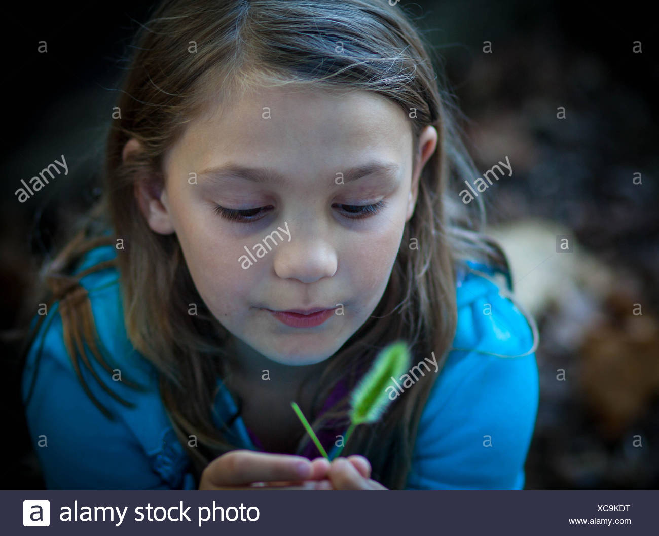 Portrait of a girl holding blade of grass - Stock Image
