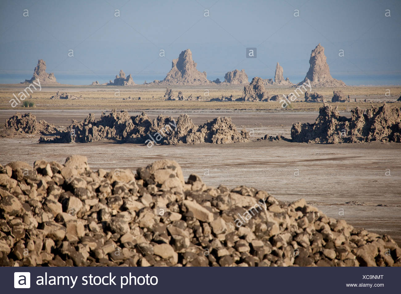 Lime chimneys, rocks, cliffs, cliff formation, rock, Abbesee, Djibouti, Africa, mountain, mountains, scenery, landscape, nature, - Stock Image