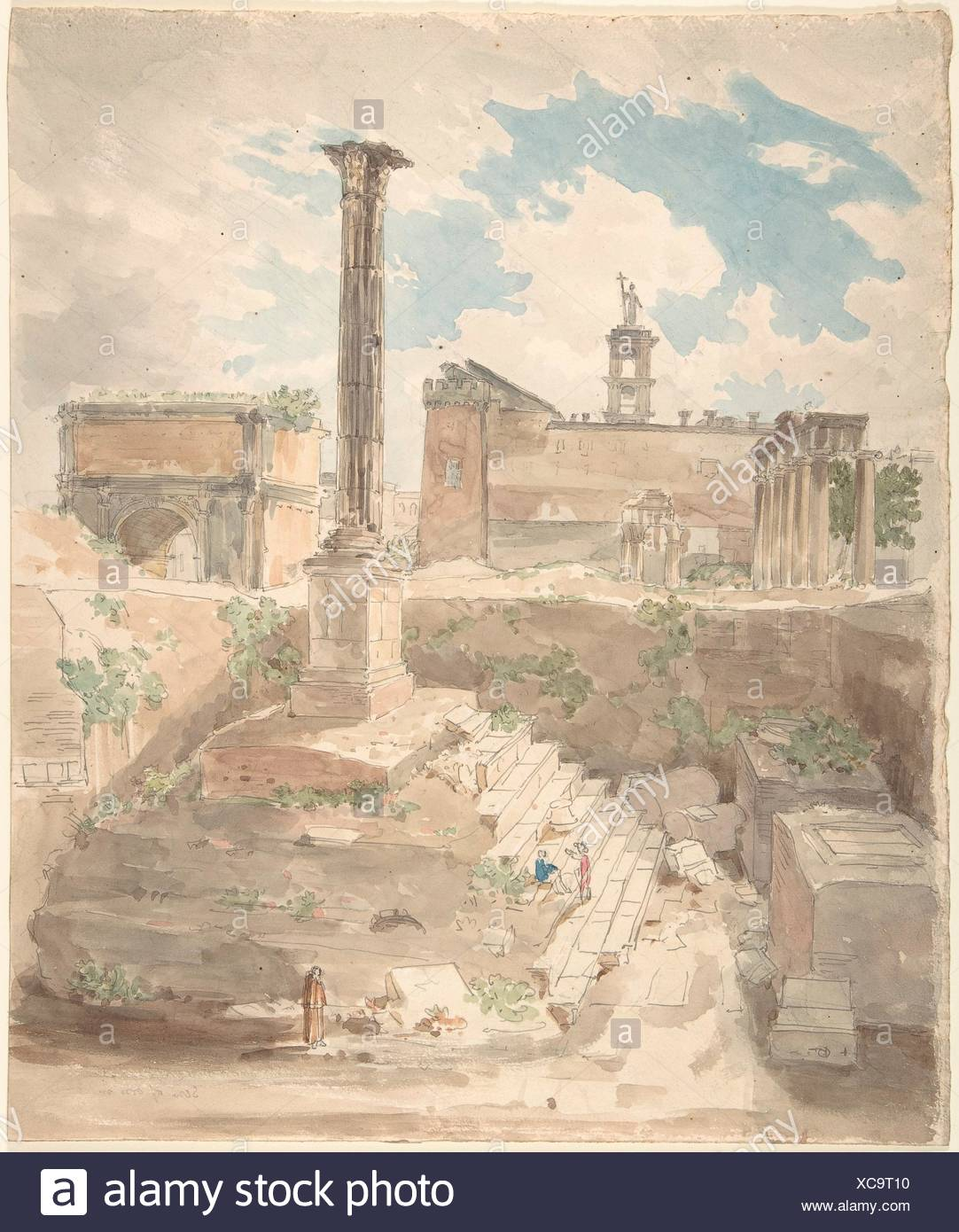 View of the Roman Forum, unexcavated. Artist: Attributed to Sir Charles Barry (British, London 1795-1860 London); Date: 1840; Medium: Watercolor over - Stock Image