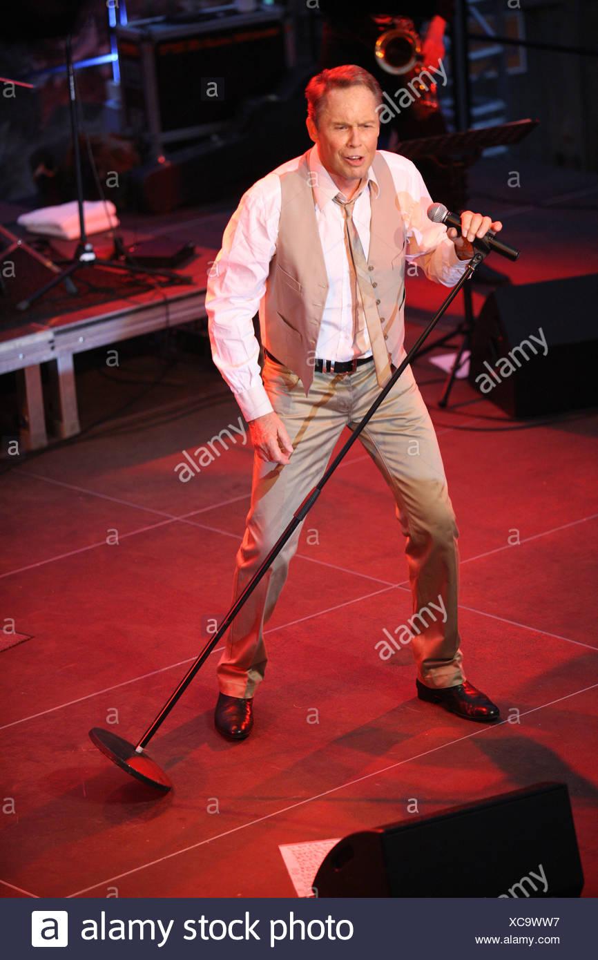Peter Kraus, rock'n' roll musician, open air concert, Muehldorf am Inn, Bavaria, Germany Stock Photo
