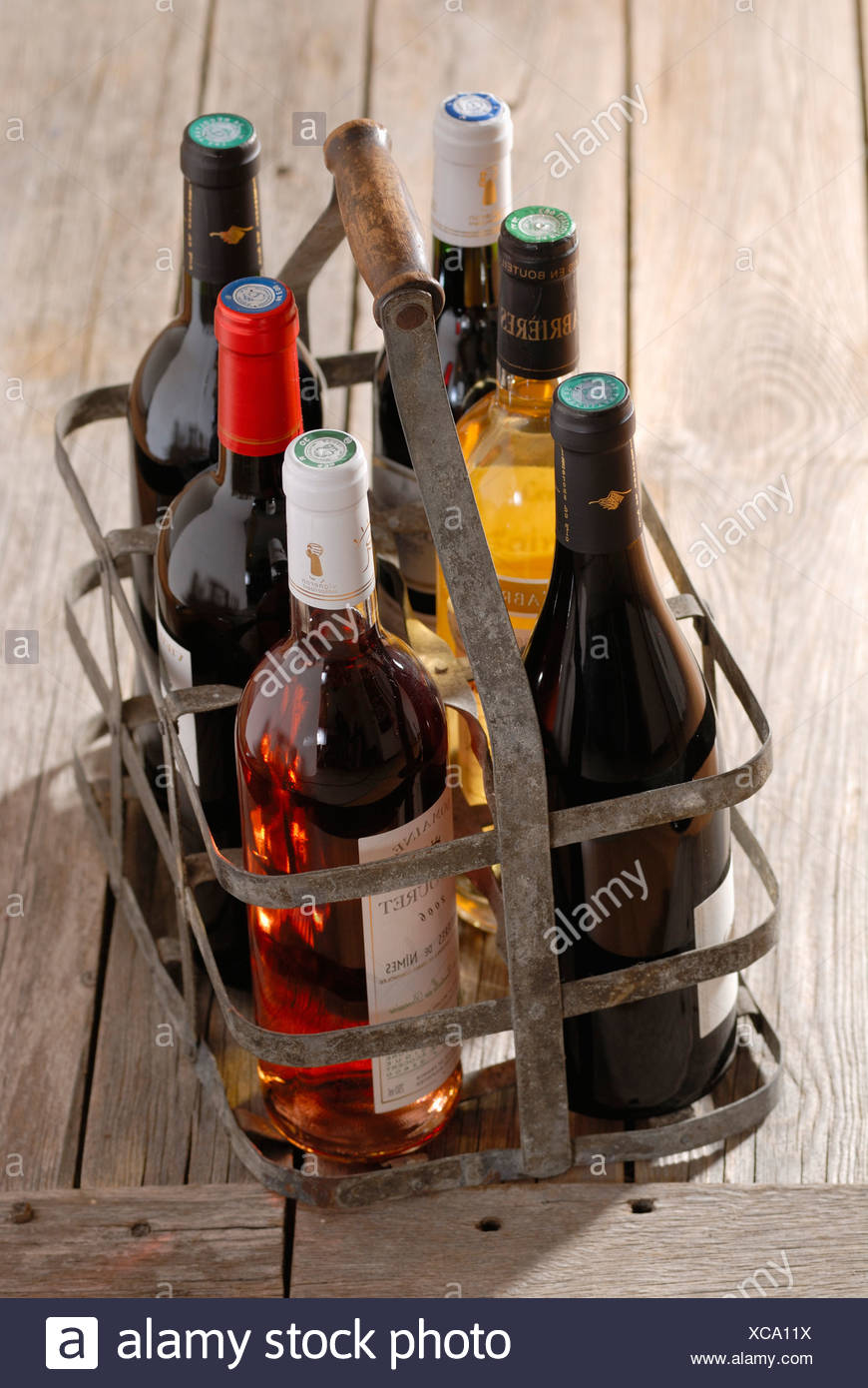 Bottles of wine in bottle carrier - Stock Image