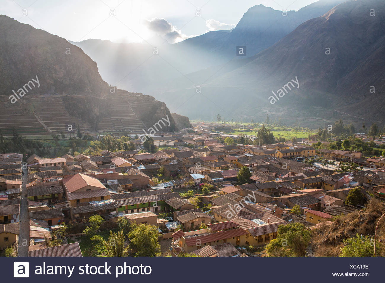 Inca ruins complex in Ollantaytambo, - Stock Image