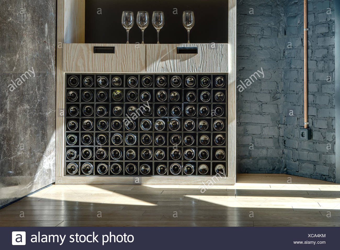 Special shelf for storing wine Stock Photo