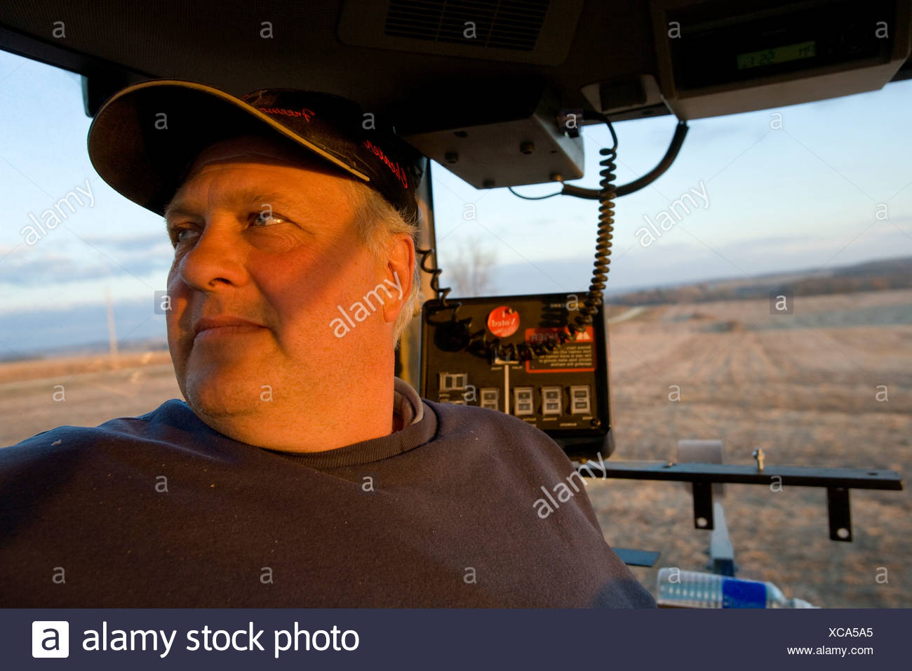 A farmer looks out from the inside of a tractor cab during the Autumn grain corn harvest / near Northland, Minnesota, USA. - Stock Image