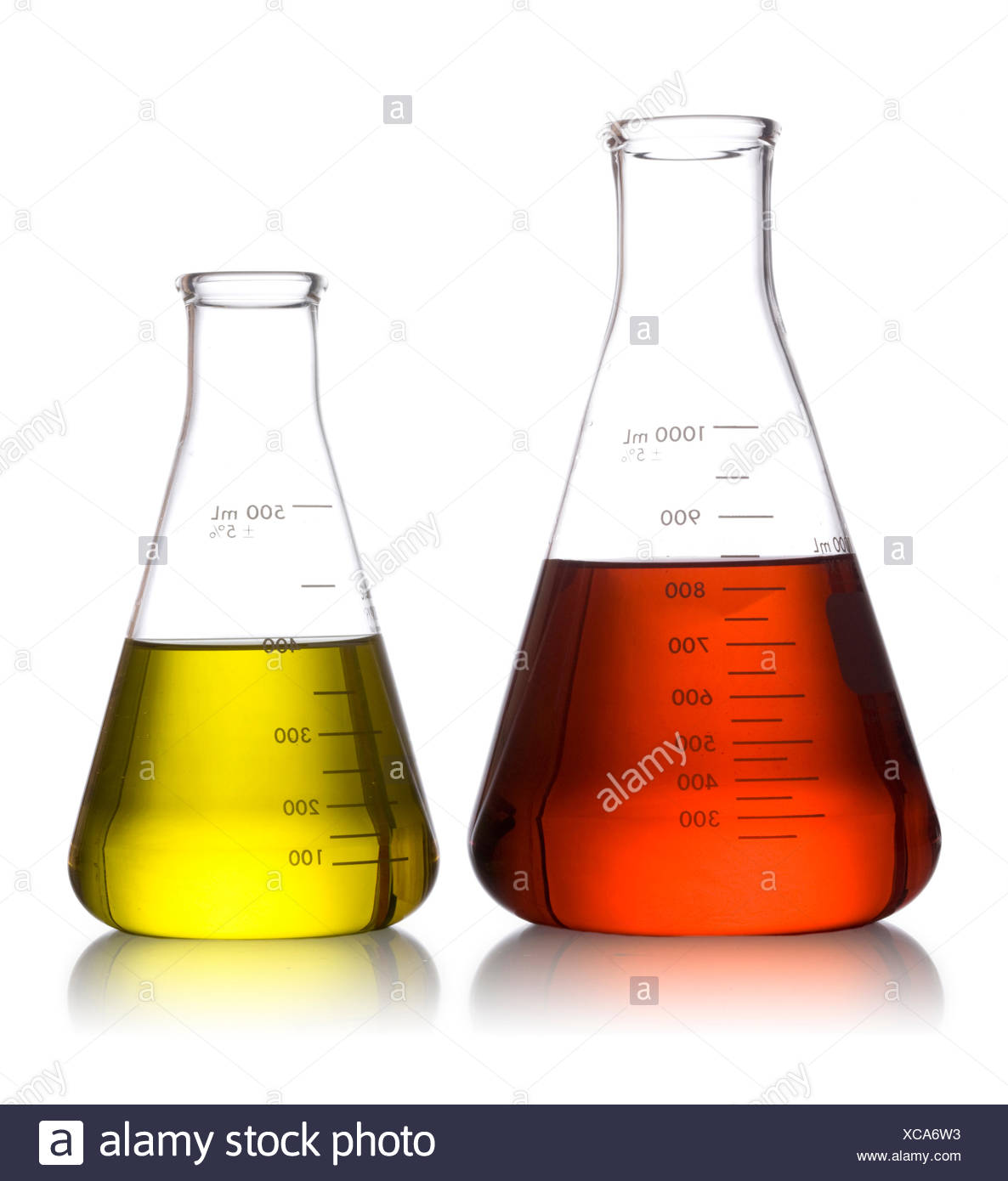 two erlenmeyer flasks full of liquid Stock Photo: 282966687