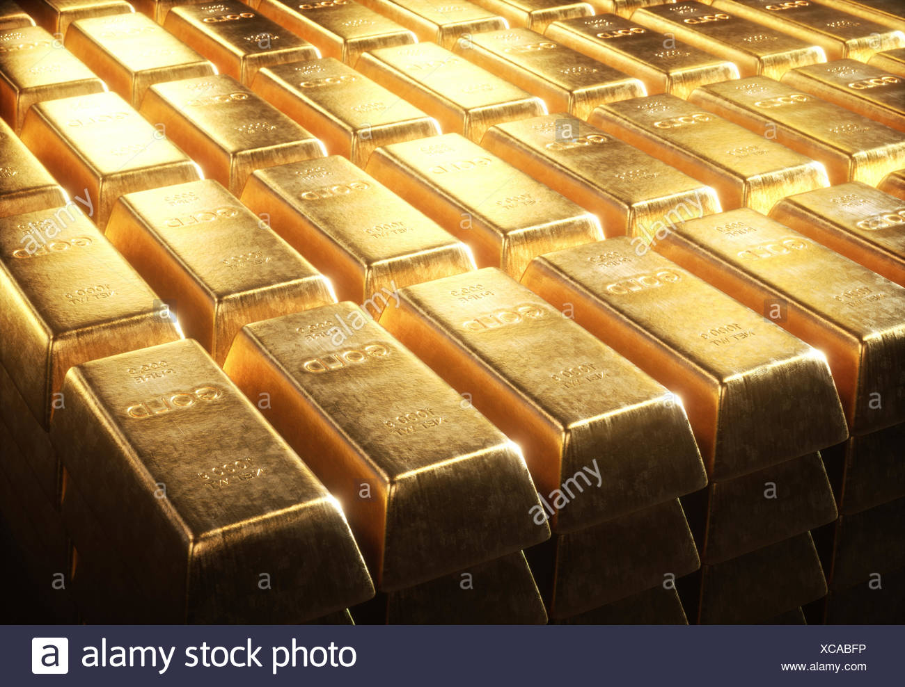 Gold bars, illustration. - Stock Image