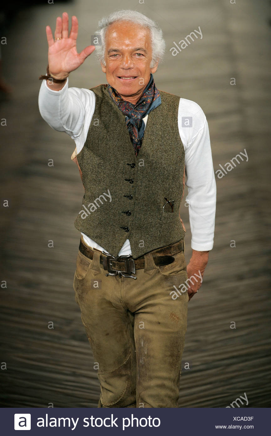 Ralph Lauren New York Ready To Wear Autumn Winter Fashion Designer Ralph Lauren Wearing A Dark Green Vest Over A White Top Blue Stock Photo Alamy