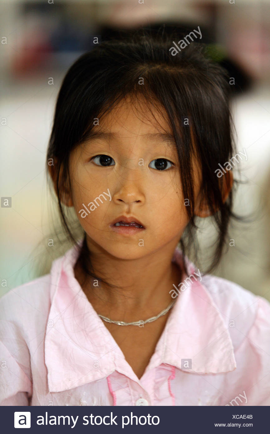 Girl in nursery-school, Dong Mon, Hoa Bin Province, Vietnam, Asia Stock Photo