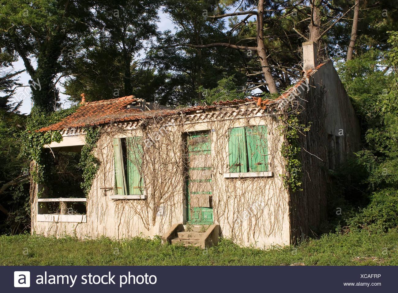 France, Pays De La Loire, Vendée, Jard Sur Mer, Abandoned House