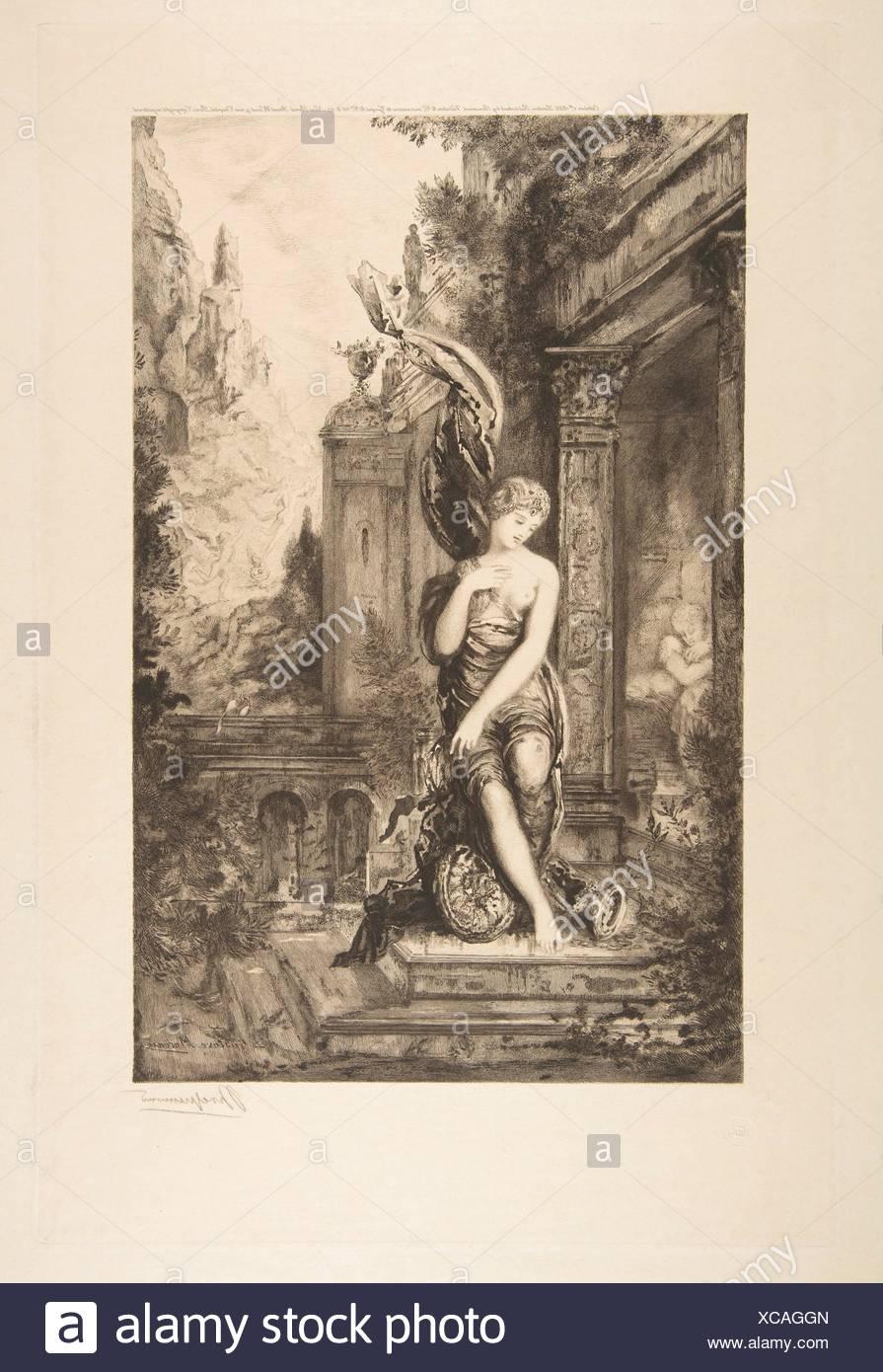 L'Homme qui court après la Fortune et celui qui l'attend dans son lit, after Gustave Moreau. Artist: Félix Bracquemond (French, Paris 1833-1914 - Stock Image