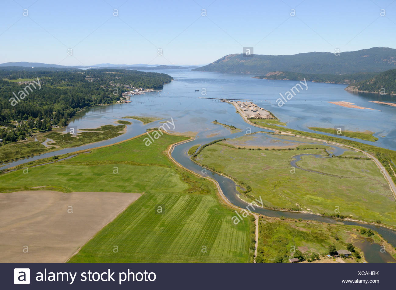 Aerial photograph of Cowichan Bay's estuary, Vancouver Island, British Columbia, Canada. Stock Photo