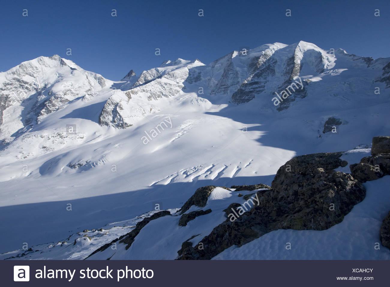 Switzerland, the Engadine, Bernina group, Diavolezza, view, Piz Palü, - Stock Image