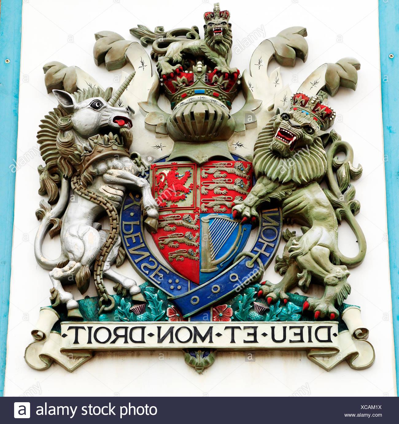 British Royal Coat Of Arms Lion And Unicorn Dieu Et Mon