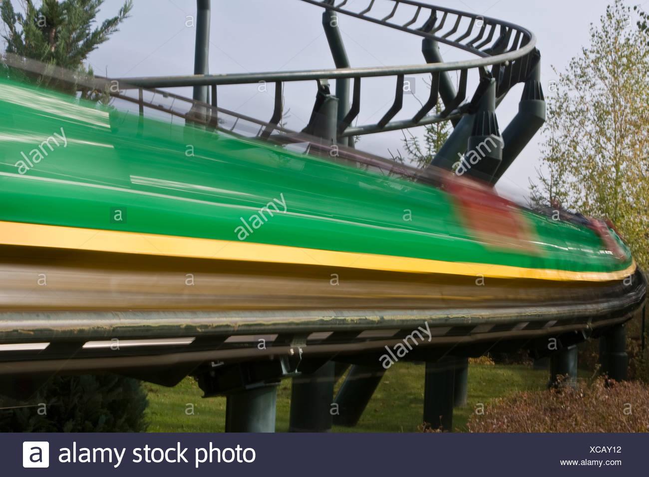 Fast rollercoaster, Legoland, Guenzburg, Bavaria, Germany Stock Photo