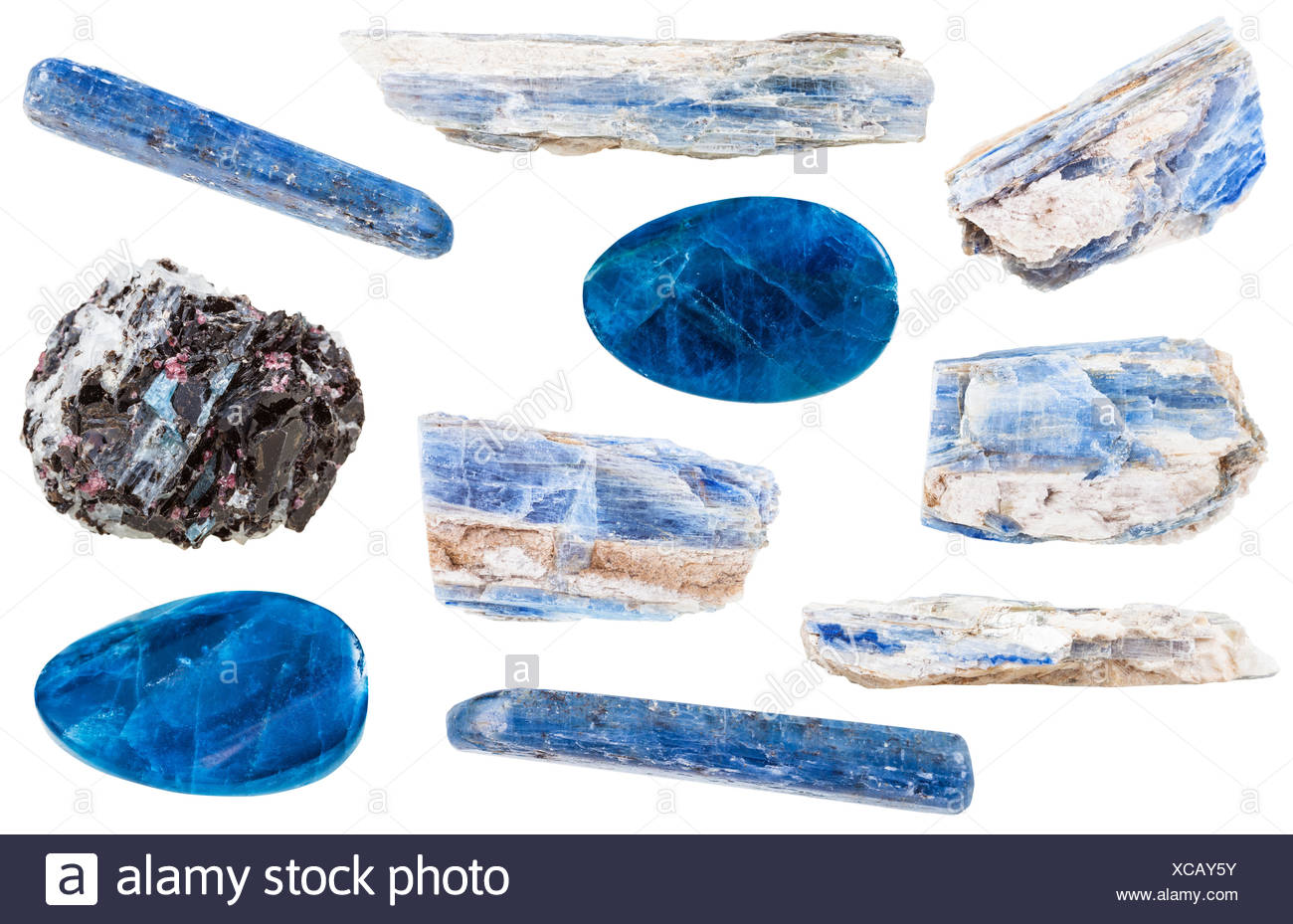 collection of polished and raw kyanite stones - Stock Image