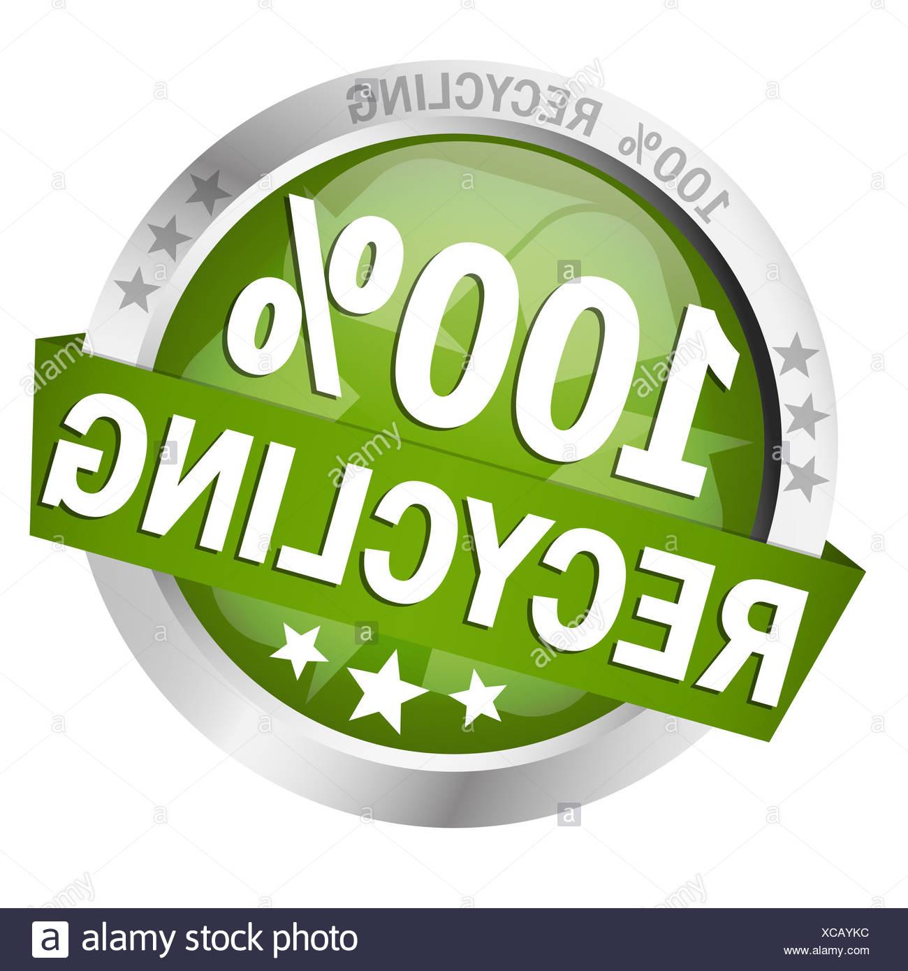 Button - 100 % Recycling vector Stock Photo