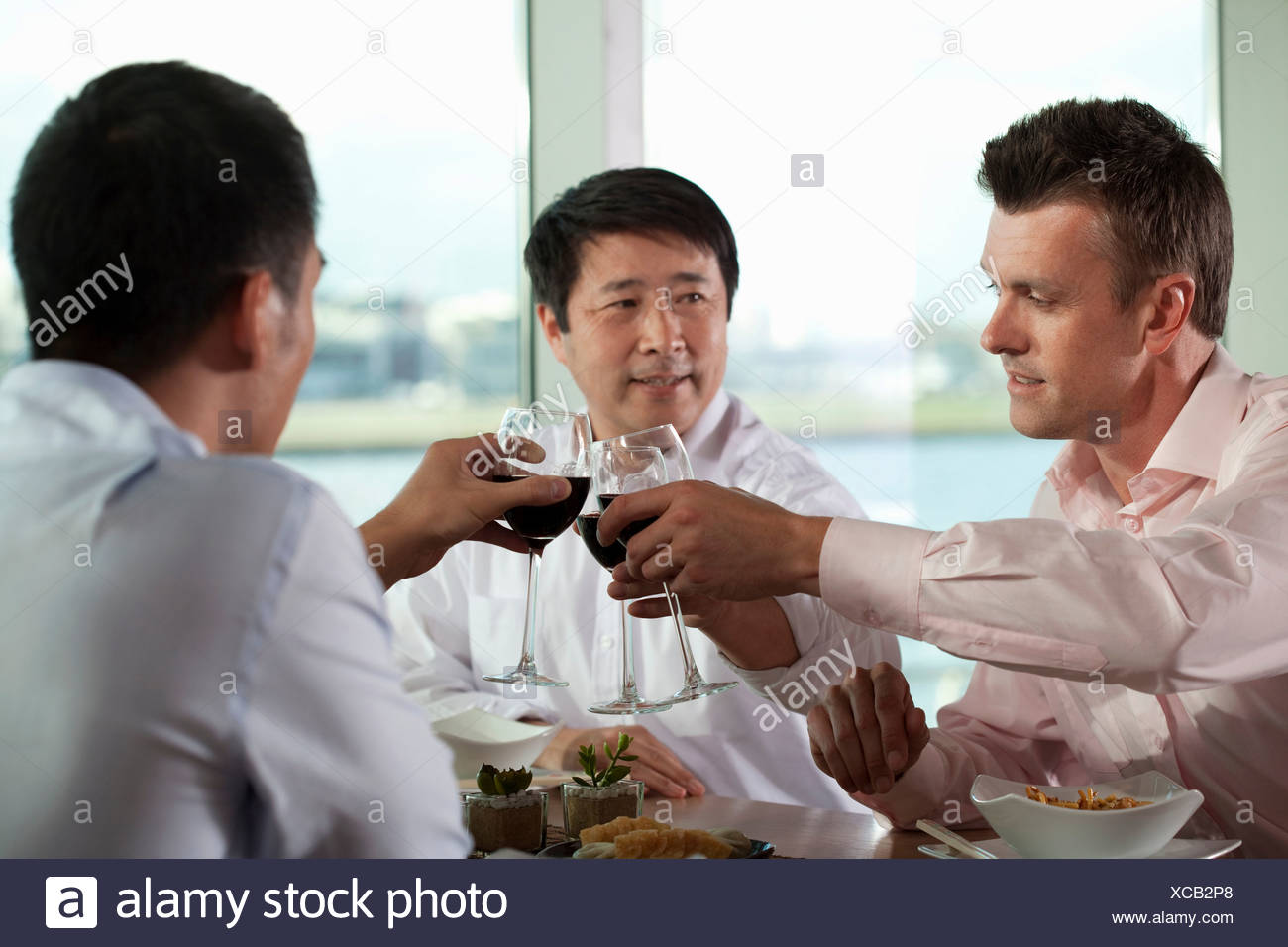 Multi racial businessmen toasting with wine - Stock Image