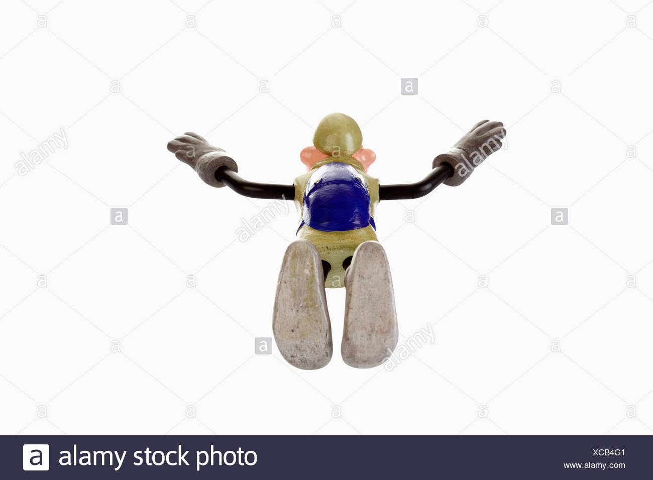 Cartoon character, basejumper in a nosedive, freefall - Stock Image