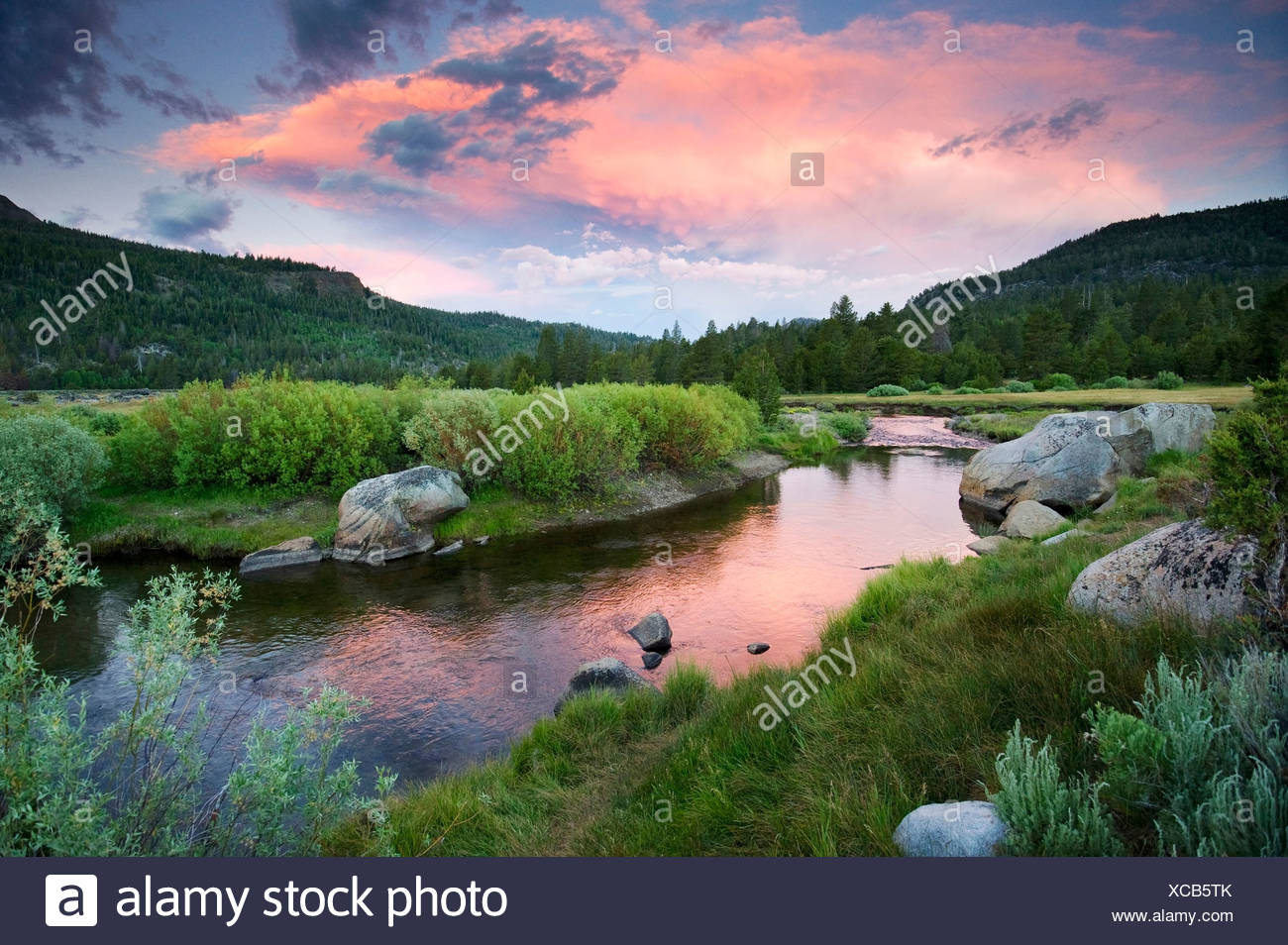 A beautiful sunset over the West Fork of the Carson River in Hope Valley near South Lake Tahoe, CA. - Stock Image