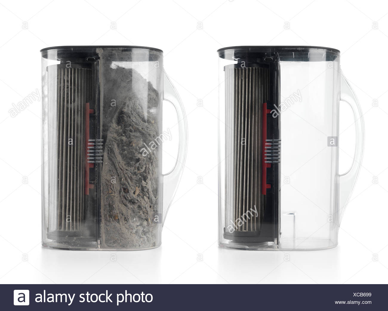 Vacuum cleaner filters, one empty and clean, and one full of dust - Stock Image