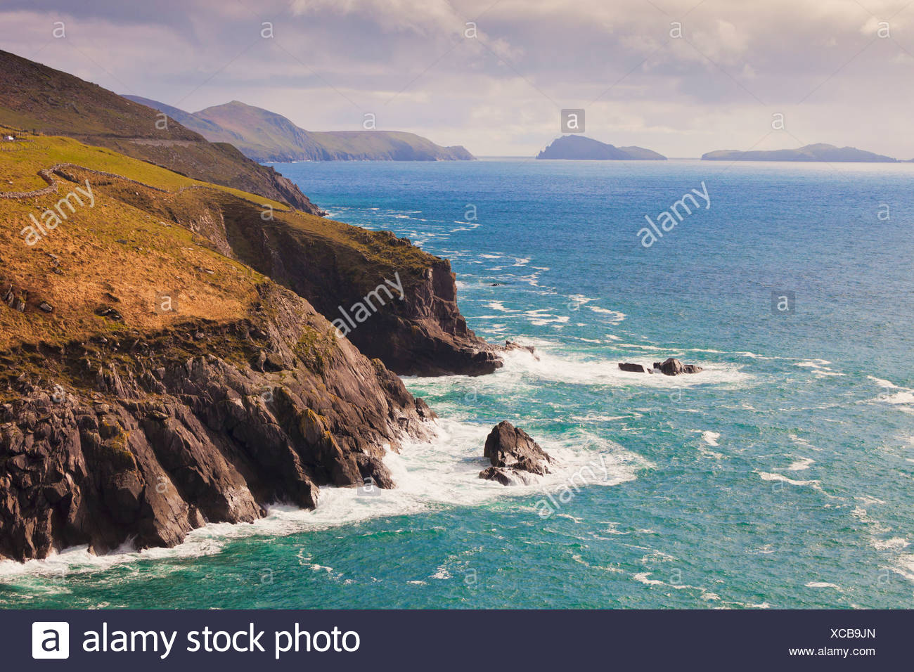 View Along The Coast To Blasket Islands On The Horizon Near Slea Head; Dingle Peninsula County Kerry Ireland Stock Photo
