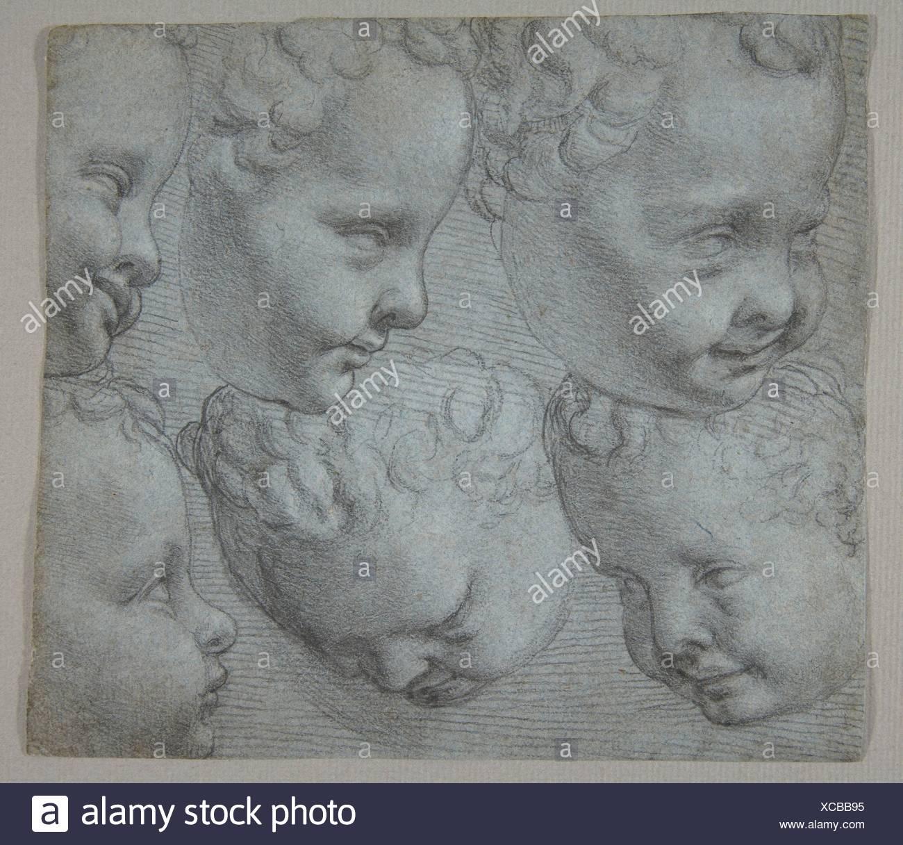 Studies of the Head of an Infant (after a three-dimensional model). Artist: Poppi (Francesco Morandini) (Italian, Poppi 1544-1597 Florence); Date: - Stock Image