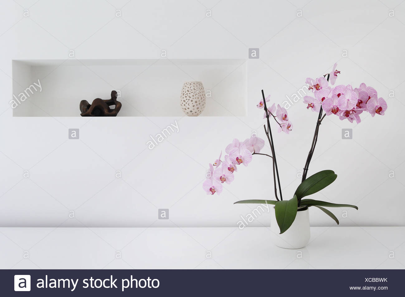 Pink orchid plant and ornaments in room - Stock Image