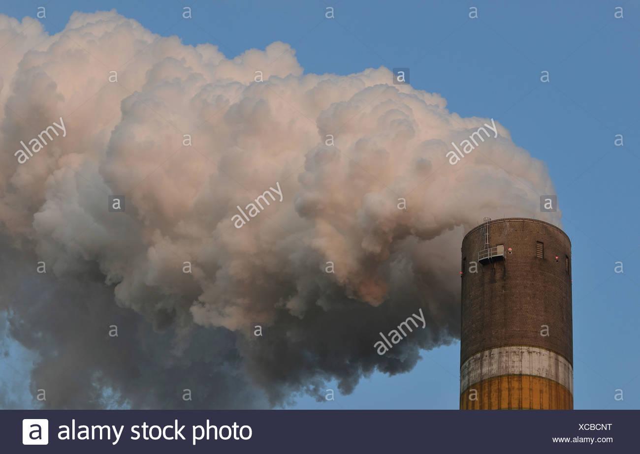 Smoking chimney, Schkopau lignite-fired power plant, Schkopau, Saxony-Anhalt, Germany Stock Photo