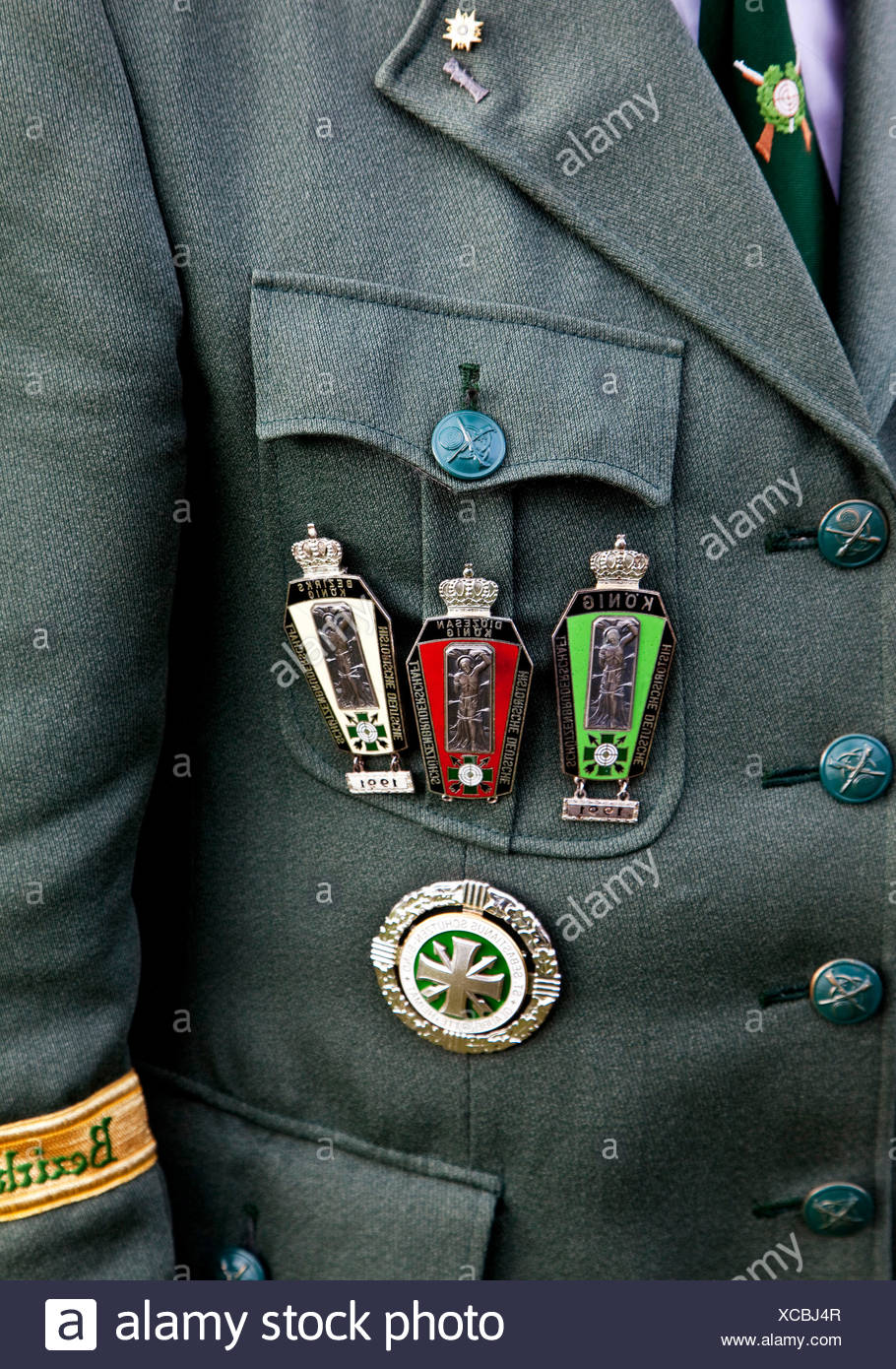 medals at an uniform at marksmen's festival in Ottfingen, Germany, North Rhine-Westphalia, Sauerland, Wenden-Huensborn - Stock Image
