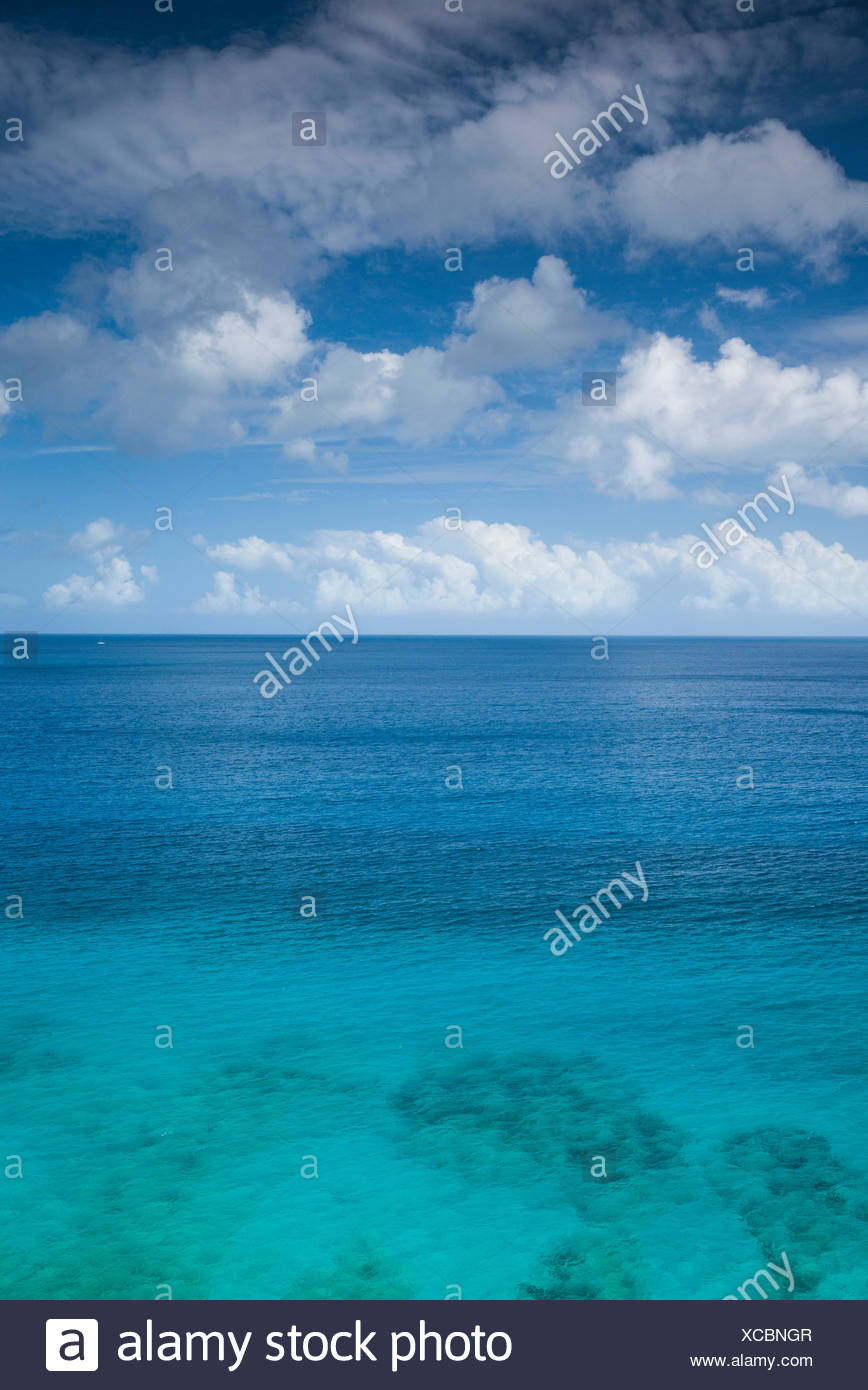 British Virgin Islands, Tortola, Long Bay Beach, elevated view - Stock Image